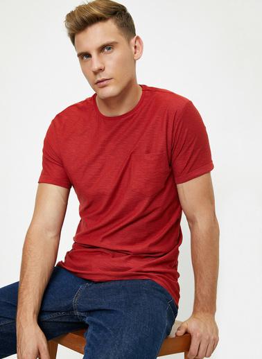 Koton Bisiklet Yaka Cep Detayli Flamli Kumas Slim Fit Basic T-Shirt Kırmızı